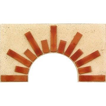 Façade en pierre reconstituée blanc et terre cuite Soleil n°1, l.90xL.5xH.50 cm