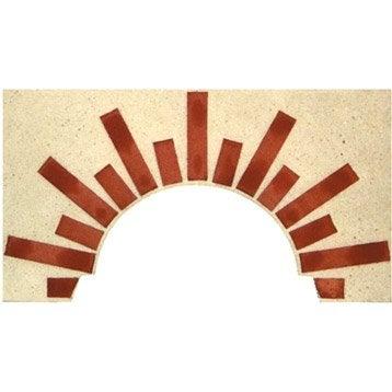 Façade en pierre reconstituée blanc et terre cuite Soleil n°2, l.100xL.5xH.55 cm