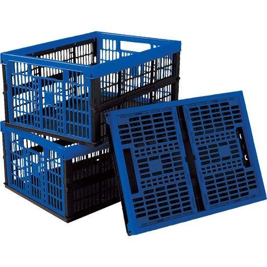 Lot de 3 casiers pliables voila en plastique l 35 x p - Leroy merlin casier rangement ...