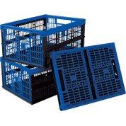 Lot de 3 casiers pliables Voilaen plastique, L. 35 x P. 48 x H. 12 cm, 32 L