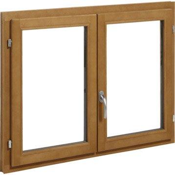 Fenêtre bois 2 vantaux ouvrant à la française H.115 x l.140 cm