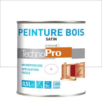 Peinture bois ext rieur technopro satin blanc 0 5l for Peinture bois exterieur blanc