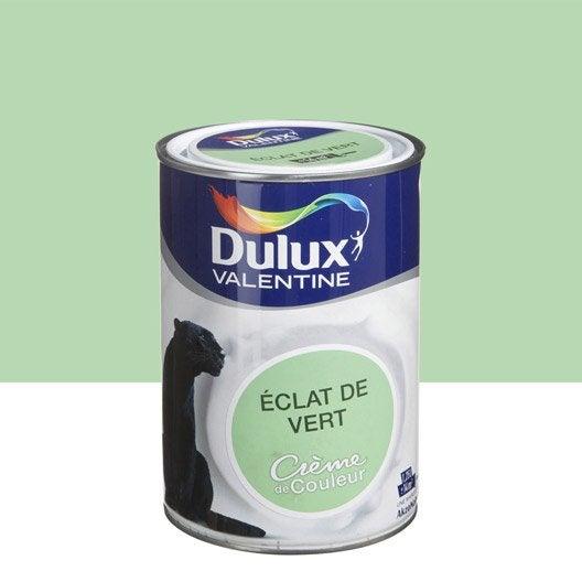 Peinture eclat de vert dulux valentine cr me de couleur l leroy merlin for Peinture couleur argent
