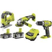 Perceuse sans fil RYOBI Bombo kit 3 outils one+, 18 V 1.5 Ah, 2 batteries