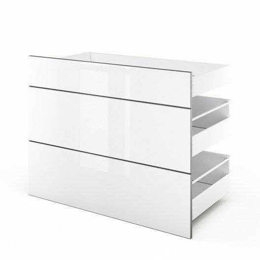 3 tiroirs de cuisine blanc 3d90 everest l90xh70xp55 cm leroy merlin. Black Bedroom Furniture Sets. Home Design Ideas