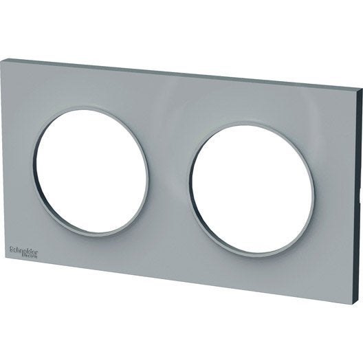 plaque double odace schneider electric gris cendre leroy merlin. Black Bedroom Furniture Sets. Home Design Ideas