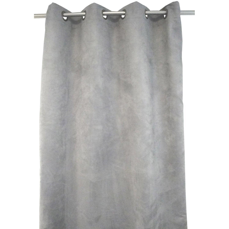 Rideau occultant thermique et phonique leeds gris x cm leroy merlin for Rideau thermique et occultant