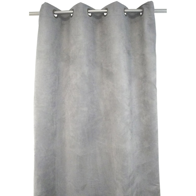 rideau occultant, thermique et phonique, leeds, gris, l.140 x h.250