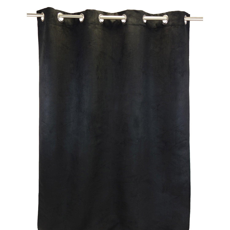 rideau occultant, thermique et phonique, leeds, noir, l.140 x h.250