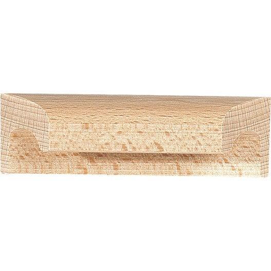 poign e de meuble applique bois brut entraxe 64 mm leroy merlin. Black Bedroom Furniture Sets. Home Design Ideas