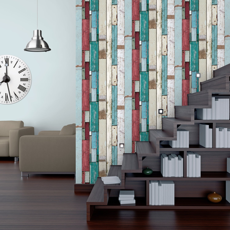 habillez vos murs avec ce papier peint en palettes vieillies clor es leroy merlin. Black Bedroom Furniture Sets. Home Design Ideas