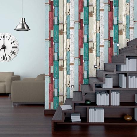 Habillez vos murs avec ce papier peint en palettes vieillies clorées