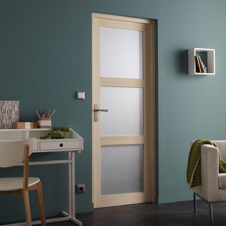 bloc porte paulownia plaqu bowen h 204 x l 73 cm leroy merlin bloc porte interieur bois exotique