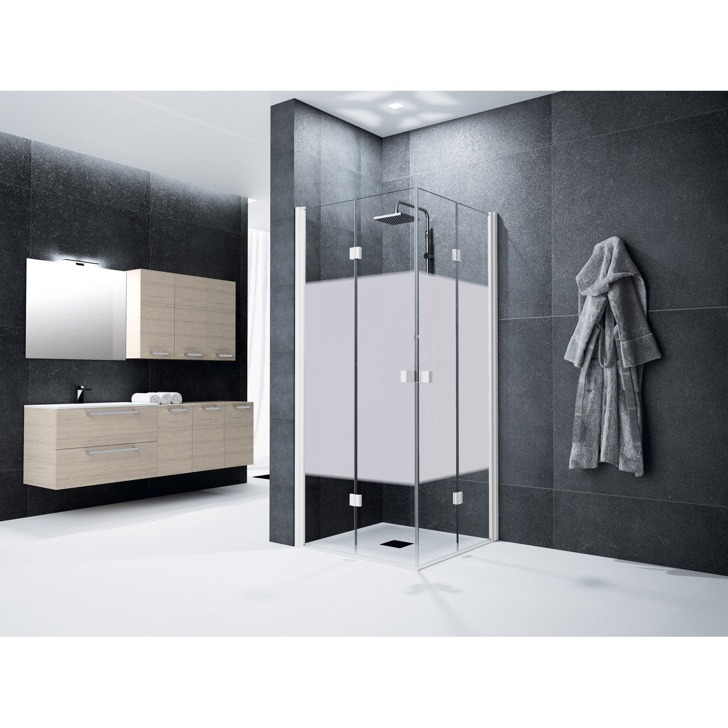 porte de douche pivot pliante angle carr 120 x 120 cm s rigraphi neo leroy merlin. Black Bedroom Furniture Sets. Home Design Ideas