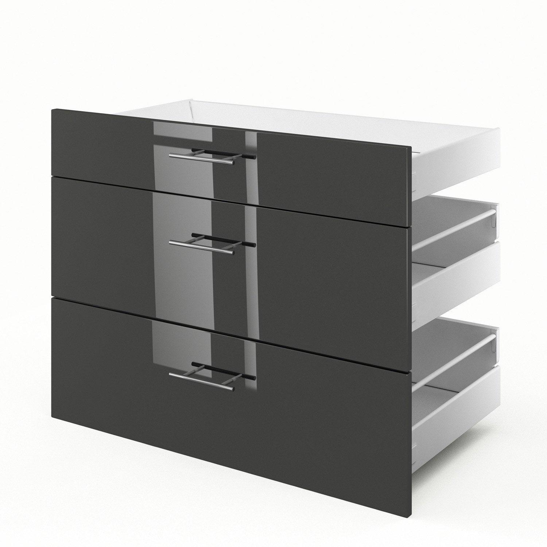 3 tiroirs de cuisine gris Rio, L.90 x H.70 x P.55 cm   Leroy Merlin