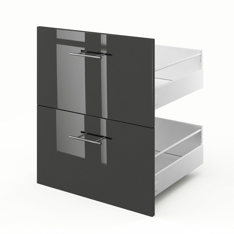 2 tiroirs de cuisine gris Rio, L.60 x H.70 x P.55 cm