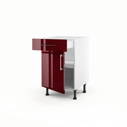 Meuble de cuisine bas rouge 1 porte 1 tiroir griotte h for Meuble bas cuisine 50 cm