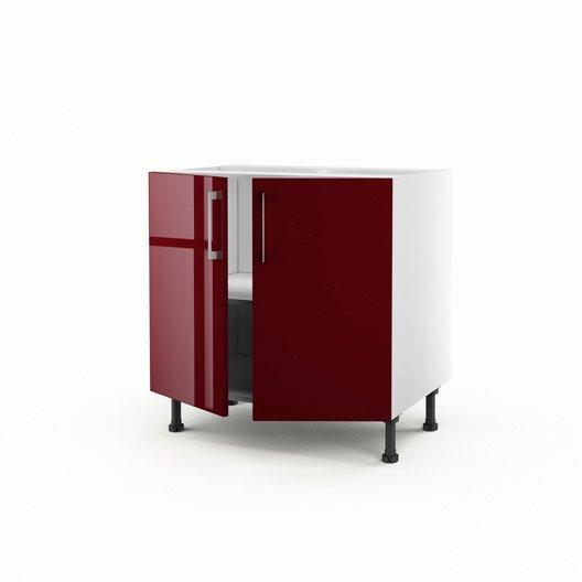 Meuble de cuisine sous vier rouge 2 portes griotte x for Porte de cuisine inox