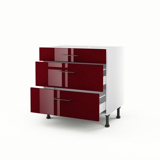 meuble de cuisine bas rouge 3 tiroirs griotte x x cm leroy merlin. Black Bedroom Furniture Sets. Home Design Ideas