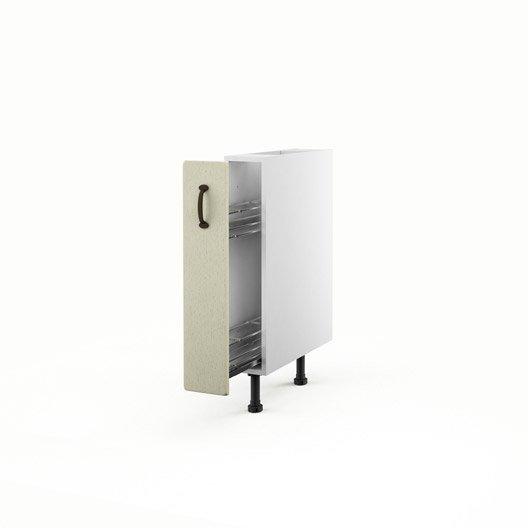 Meuble de cuisine bas beige 1 porte tradition x for Meuble cuisine 15 cm