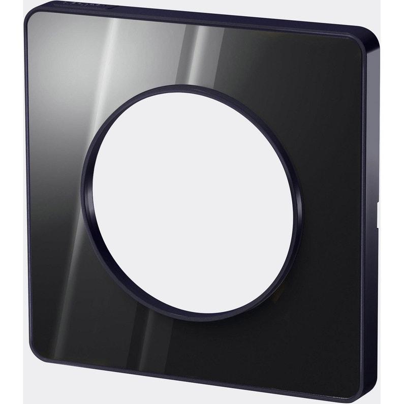 Plaque Simple Odace Schneider Electric Noir Miroir