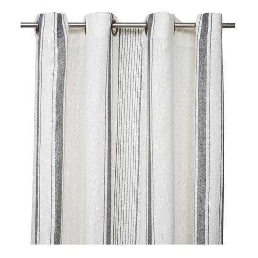 rideau tamisant florence blanc et gris x cm leroy merlin. Black Bedroom Furniture Sets. Home Design Ideas