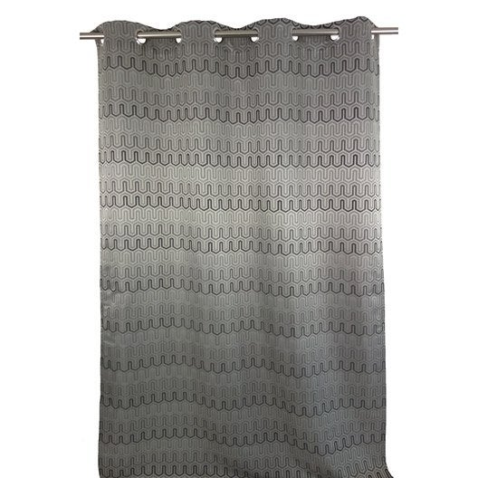 rideau tamisant zigzag gris x cm leroy merlin. Black Bedroom Furniture Sets. Home Design Ideas