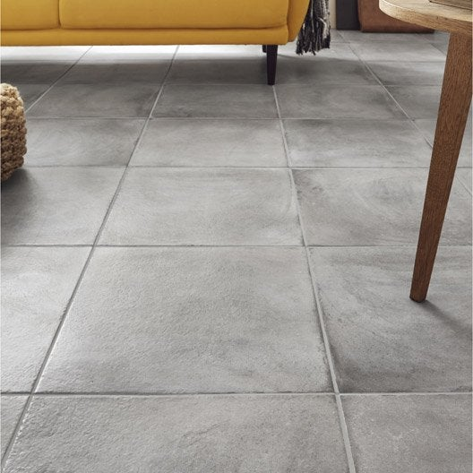Carrelage sol gris effet b ton x cm leroy merlin for Carrelage interieur gris