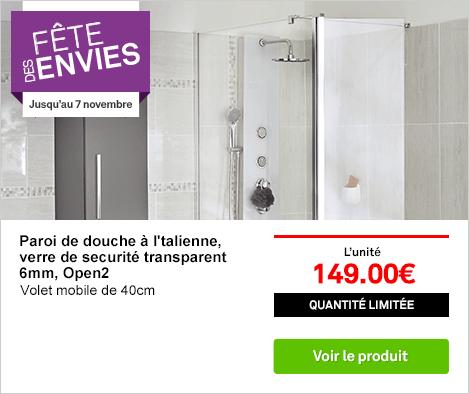 OP - Paroi de douche à l'italienne OPEN2, ref 70835401