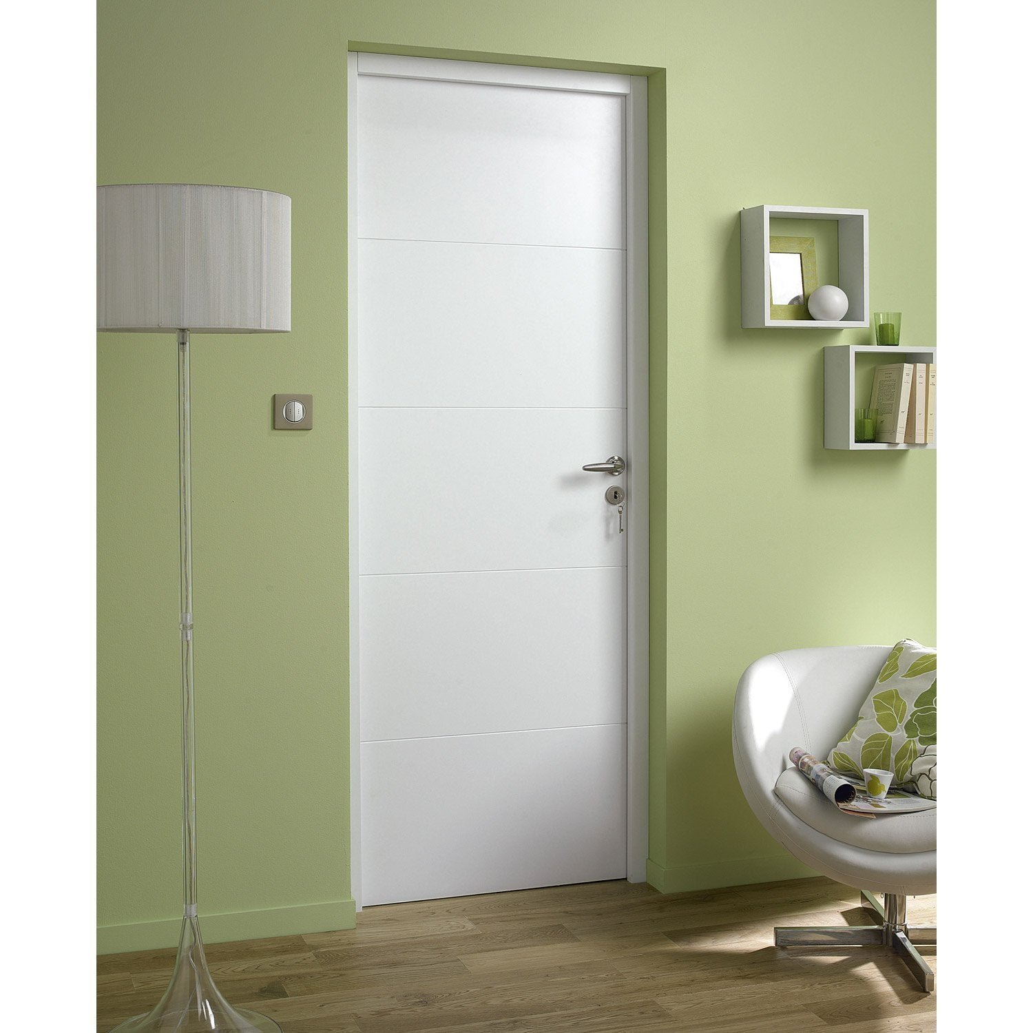 Bloc porte laqu e blanc alaska 2 artens x cm for Porte interieur point p