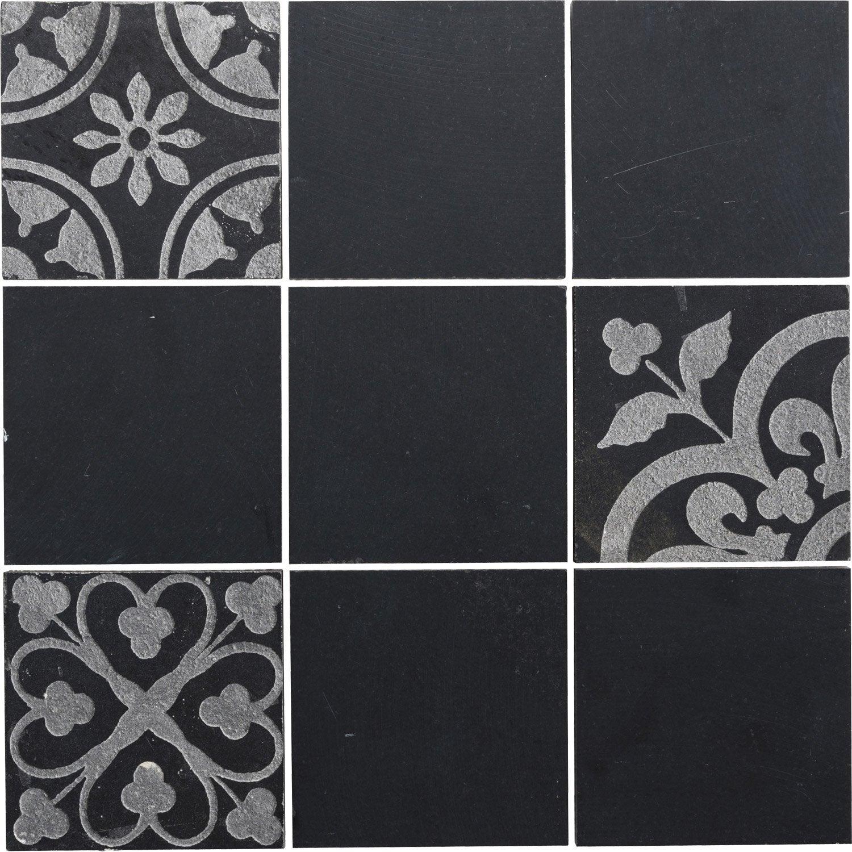 mosa que sol et mur elyt d cor noir 10 x 10 cm leroy merlin. Black Bedroom Furniture Sets. Home Design Ideas