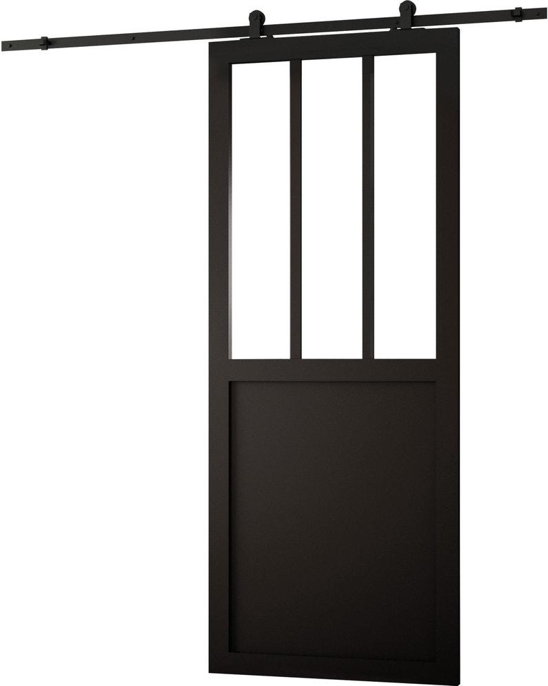 Porte Coulissante Atelier Vitrée Fabrik Noir H204 X L83 Cm