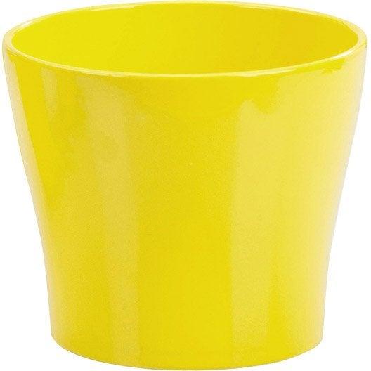 cache pot terre cuite maill e scheurich x cm jaune leroy merlin. Black Bedroom Furniture Sets. Home Design Ideas