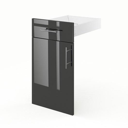 Porte tiroir de cuisine gris fd40 rio l40 x h70x p55 cm leroy merlin - Prix porte de cuisine ...
