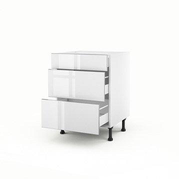 meuble de cuisine blanc delinia everest | leroy merlin - Meuble Bas Cuisine 3 Tiroirs