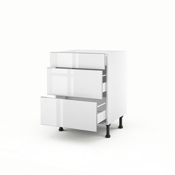 Meuble de cuisine blanc delinia everest leroy merlin for Meuble tiroir largeur 30 cm