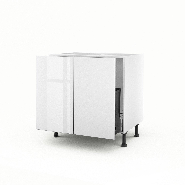 Meuble de cuisine sous vier blanc 2 portes everest x for Meuble 2 portes cuisine