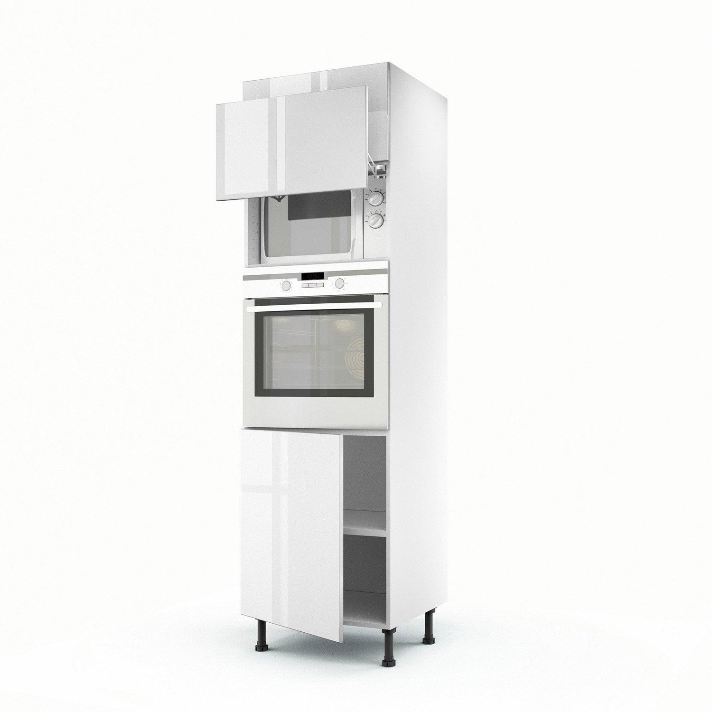 Meuble de cuisine colonne blanc 3 portes everest x l - Meuble colonne cuisine leroy merlin ...