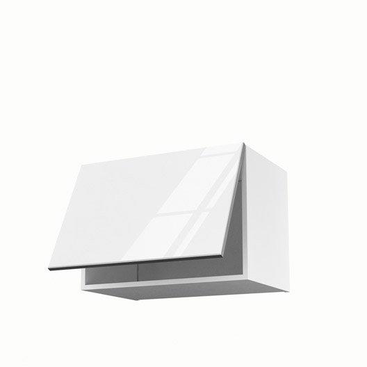 Meuble de cuisine haut sur hotte blanc 1 porte everest h for Meuble haut porte relevante