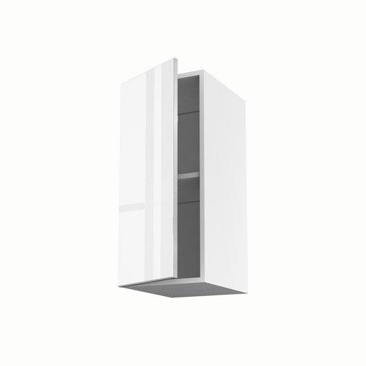 Meuble de cuisine haut blanc 1 porte everest x x for Meuble 70x30