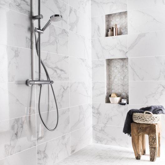 Carrelage Mur Blanc Carrare Brillant L305 X L56 Cm Murano