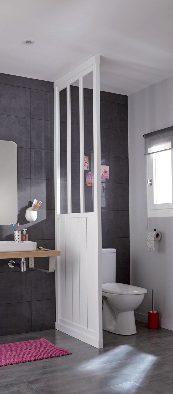 Une verrière de style atelier pour séparer les toilettes | Leroy Merlin