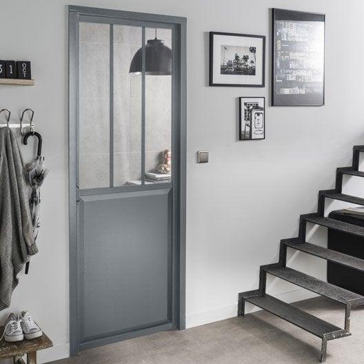 Bloc porte gris atelier verre clair artens x for Dimension bloc porte 83