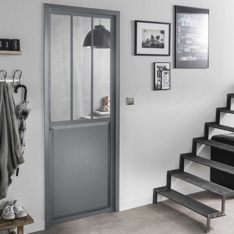 bloc porte gris atelier verre clair artens h204 x l73 cm poussant droit