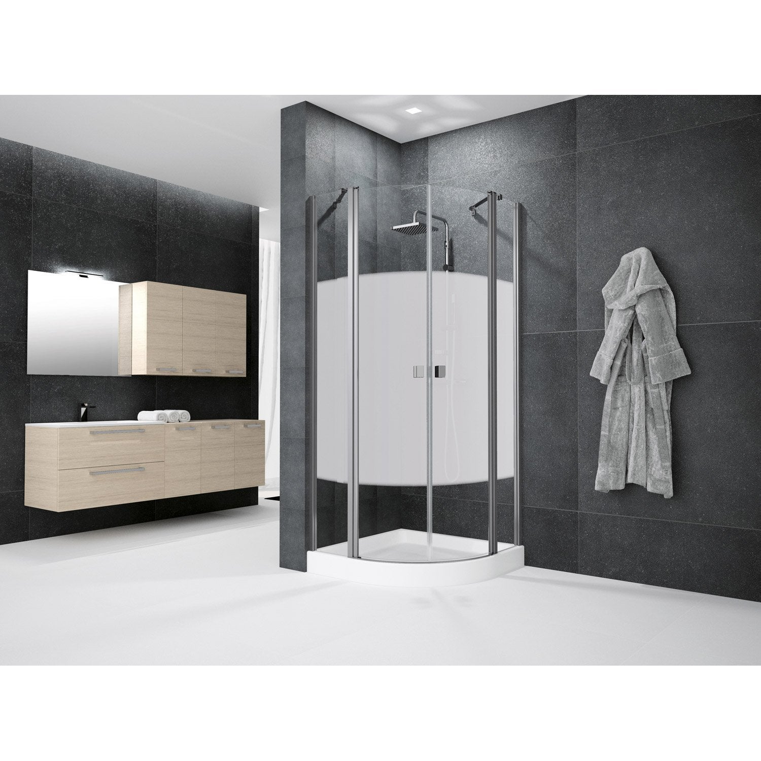 porte de douche battante angle 1 4 de cercle 80 x 80 cm s rigraphi neo leroy merlin. Black Bedroom Furniture Sets. Home Design Ideas