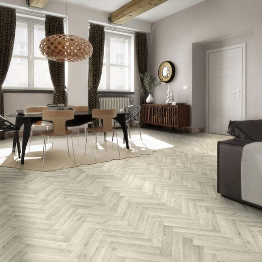 sol pvc blanc cameo chevron artens textile l 4 m leroy merlin. Black Bedroom Furniture Sets. Home Design Ideas