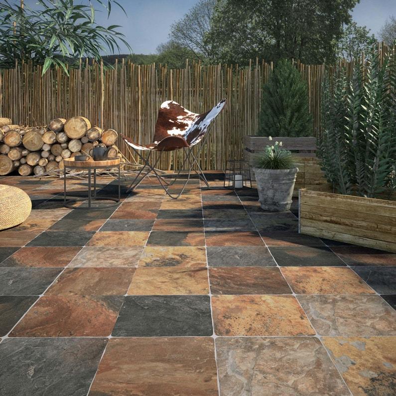 Carrelage sol extérieur forte effet pierre rouille Monastère l.30 x L.30 cm