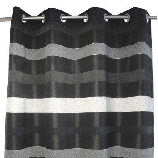 rideau tamisant edimbourg noir x cm leroy merlin. Black Bedroom Furniture Sets. Home Design Ideas