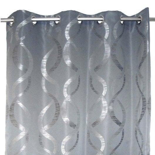 Rideau aqua gris x cm leroy merlin - Leroy merlin rideaux occultant ...