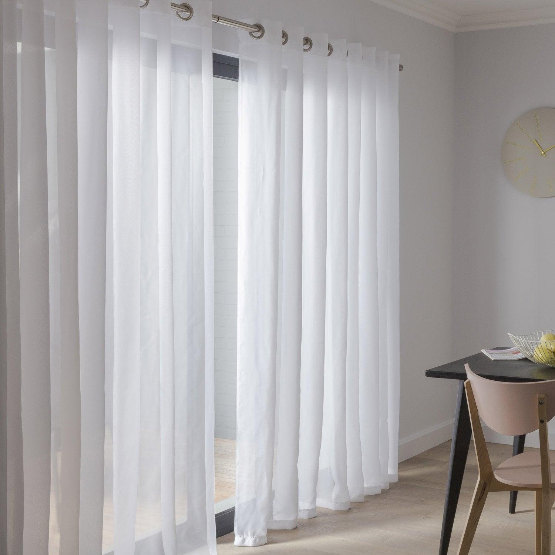 voilage transparent chic blanc x cm leroy. Black Bedroom Furniture Sets. Home Design Ideas